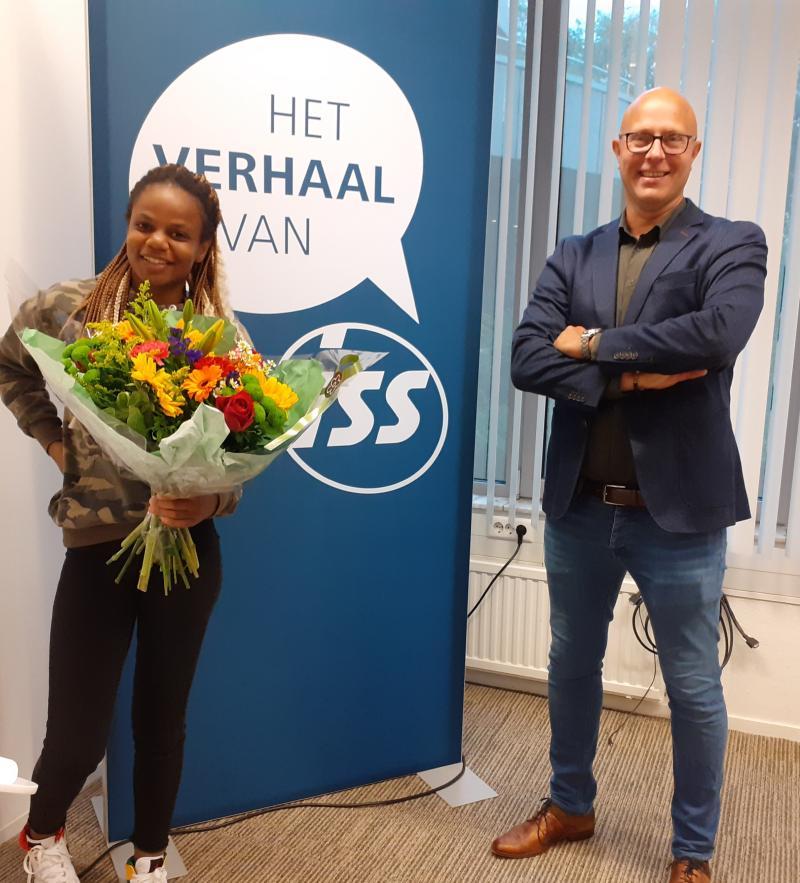 Celenia (cliënt bij Jobststap) en Edwin van der Pol (manager sociale innovatie bij ISS)